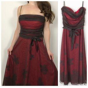 BCBG MAXAZRIA Red Floral Mesh Overlay Formal Dress